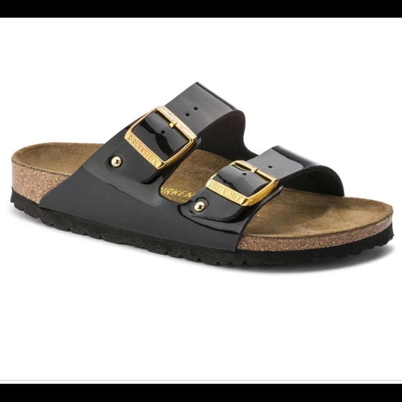 Patent Black Leather Gold Buckle